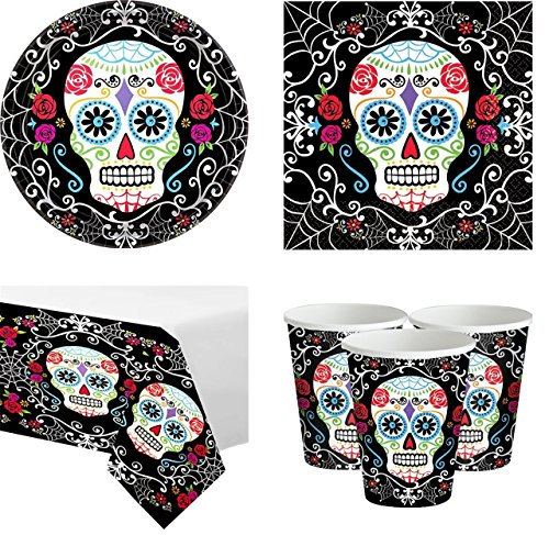 (Fancy Me Day of The Dead Sugar Skull Mexican Halloween Complete 73 Piece Party Tableware Set Plates Cups Napkins Tablecover Celebration Tableware Decorations Accessories (Tableware)