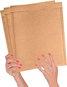 25 Pack Kraft Padded envelopes 9.5 x 14 Bubble Mailers 9 1/2 x 14 Natural Bubble envelopes Peal and Seal. Brown Cushion envelopes for Shipping, mailing, Packing. Laminated Kraft Paper. Wholesale.