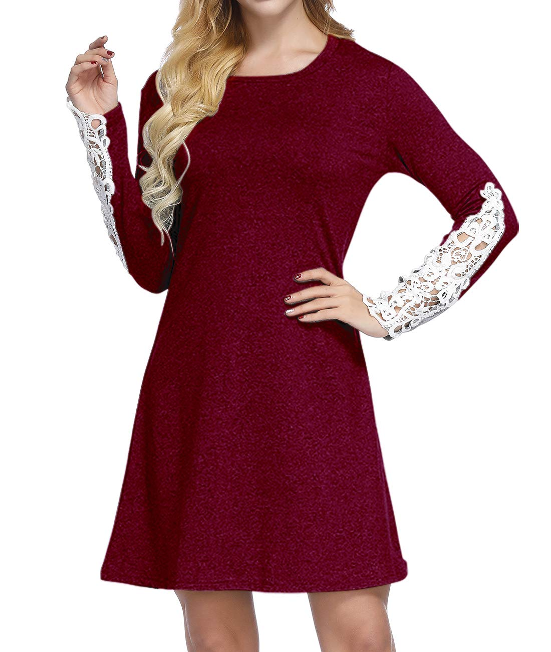 Mesitelin Women Long Sleeve Lace Casual Tunic Dress Loose A Line T Shirt Dress (L,Wine Red)