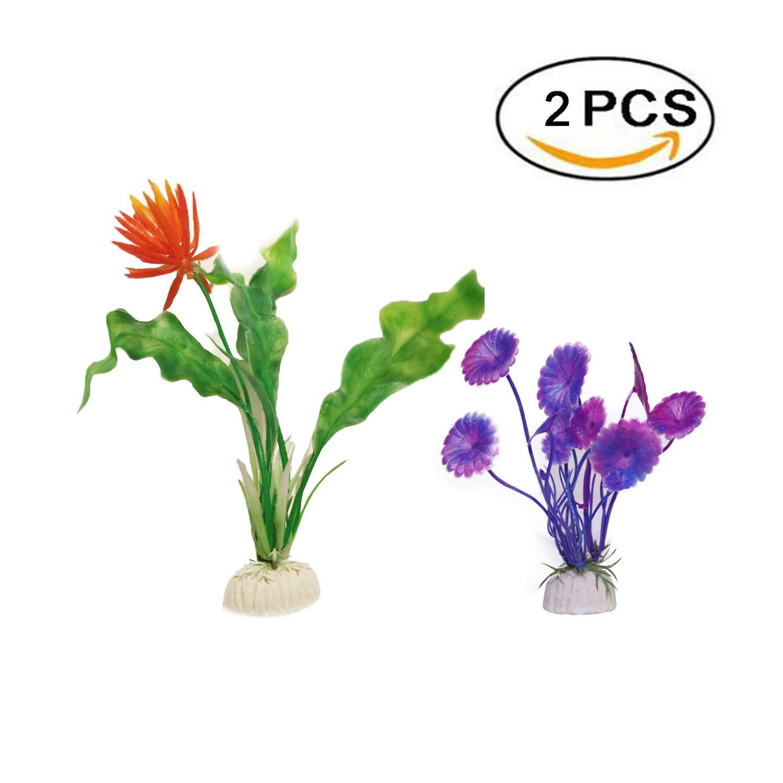 Boocy - 2 plantas de plástico para acuario, acuario, acuario, pecera, acuario, imitación de peces, orquídea, agua, hierba artificial, decoración ...