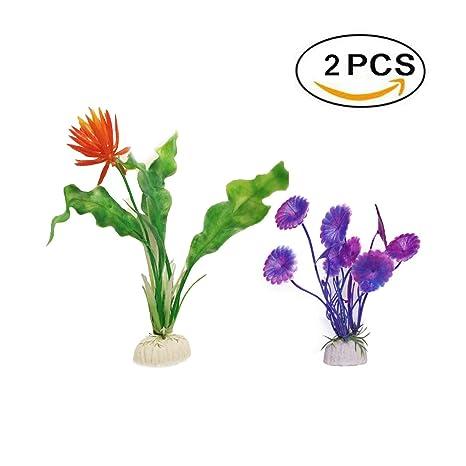 Boocy - 2 plantas de plástico para acuario, acuario, acuario, pecera, acuario