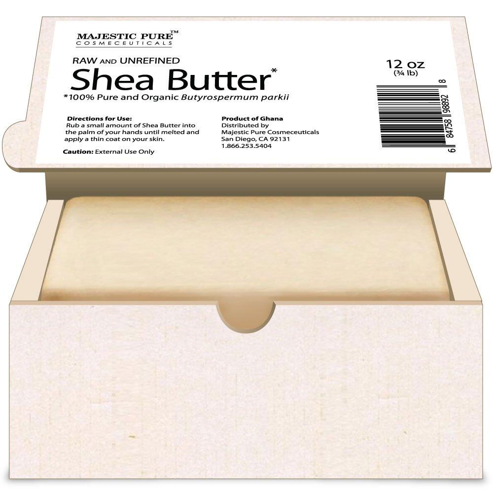 Majestic Pure Grade A Unrefined Organic Shea Butter, 12 oz