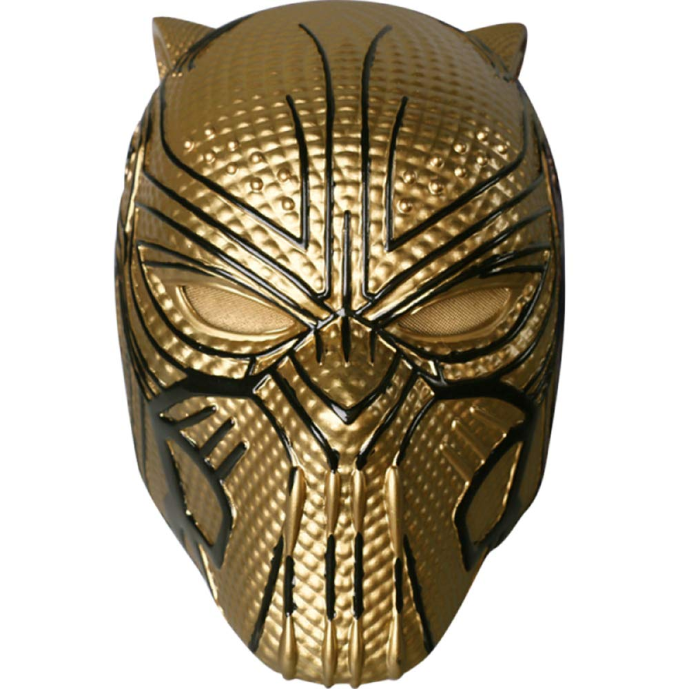 QQWE Máscara De Pantera Negra Casco Marvel Hero Villain Máscara De Cosplay Película De Halloween Cosplay Prop Máscara De PVC,Gold-OneSize