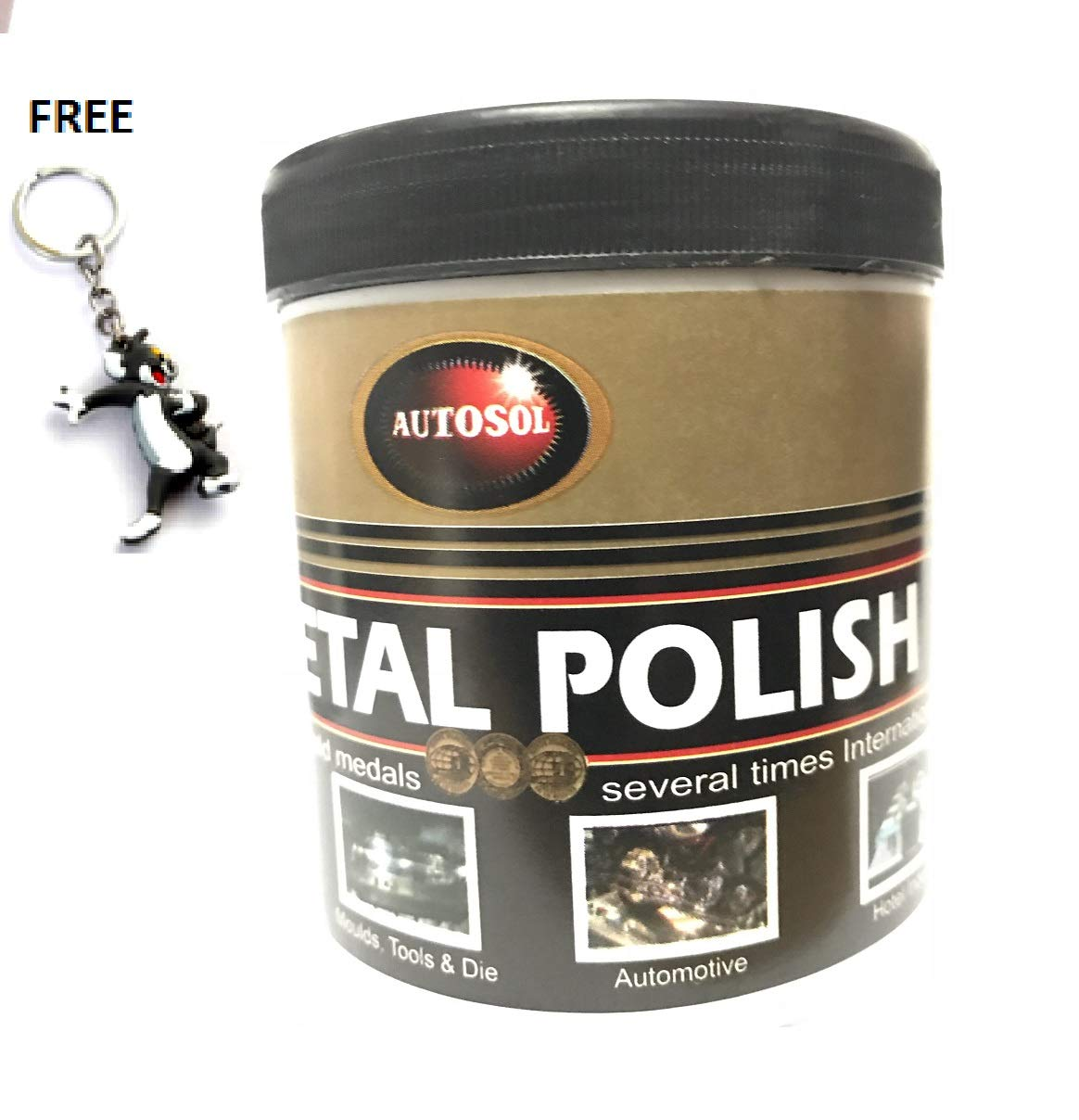 AUTOSOL - Metal Polish - 8.81 Oz - Cleans, Restore, Remove Rust - Widely Used in Household Metal Items, Moulds, Tools and Die, Automotive & Hotel Industry - FREE 3D Keychain with Every Order.