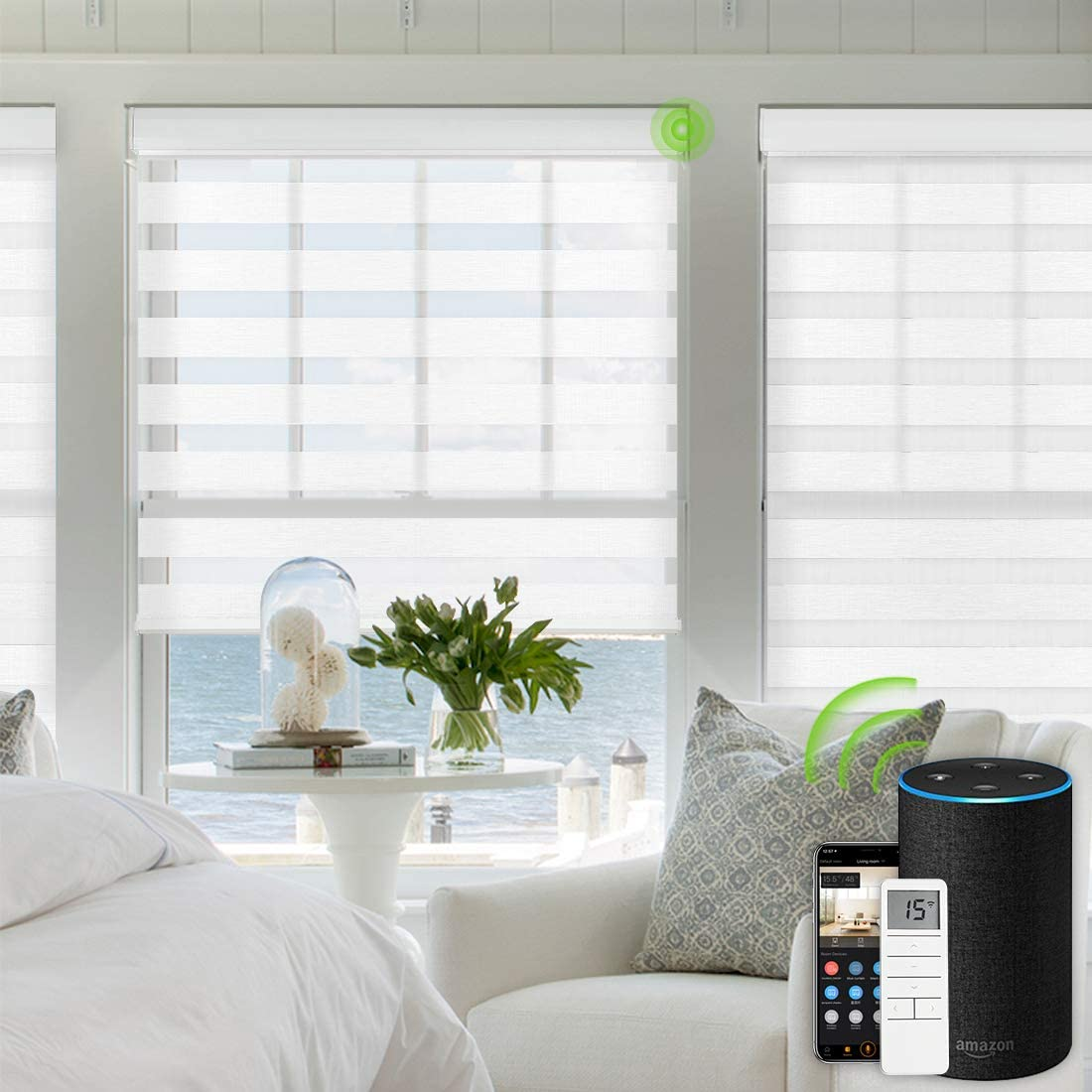Yoolax Motorized Zebra Blinds Capable with Alexa Siri Rechargeable Battery Motor Dual Layer Sheer and Privacy Light Control Automatic Day and Night Shades White
