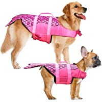Dog Life Jacket - Mermaid Hot Pink, Portable Dog Swimming Jacket Vest, Lifesaver Vests with Rescue Handle for Small…