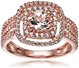 Rose Gold-Plated Silver Morganite and Created White Sapphire Double Halo Engagement Ring, Size 7
