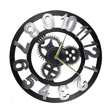 YF-Clock Reloj de Pared Retro Europeo Reloj de Pared Mudo Creativo Reloj de Engranaje Mudo Reloj de Pared Digital árabe Decoración de Viento Industrial ...