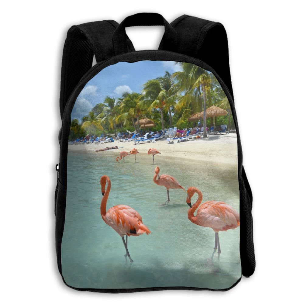 YEWEI フラミンゴ Enjoy Sunset Beach 男女兼用 3Dプリント ワイドジッパー スクールトラベルバッグ ショルダーバッグ 子供用バックパック   B07GCGNZXF