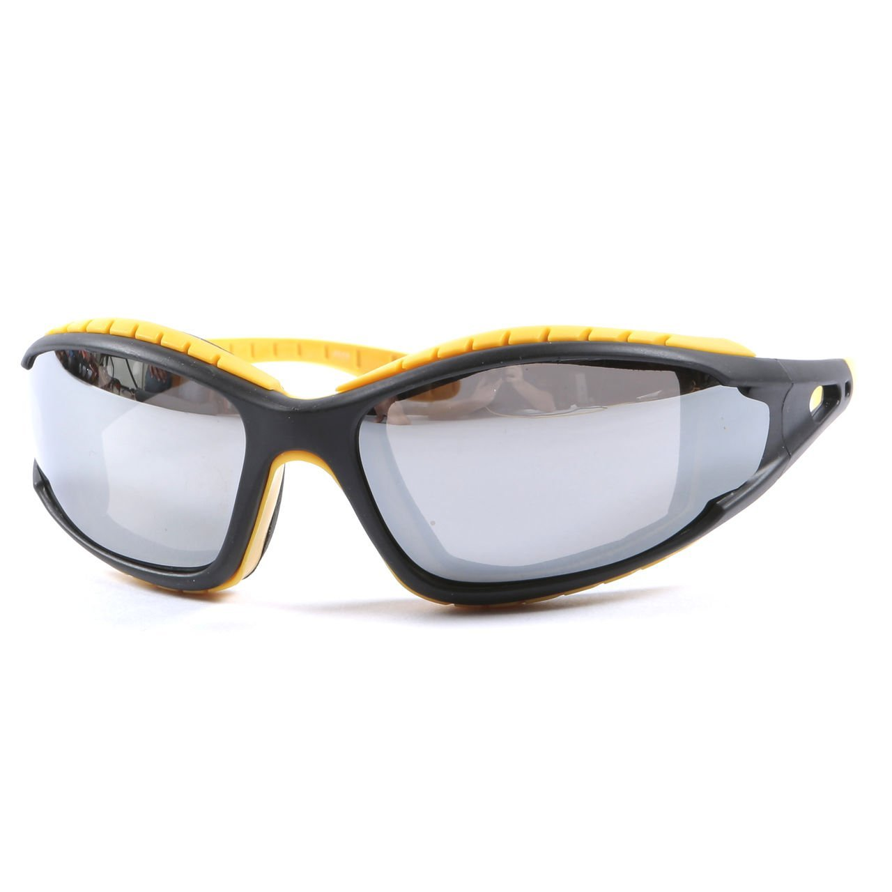 Motorcycle Biker Sunglasses Padded Cushion Wraparound Polycarbonate Shatterproof UV400 Silver Mirror Lens + Case