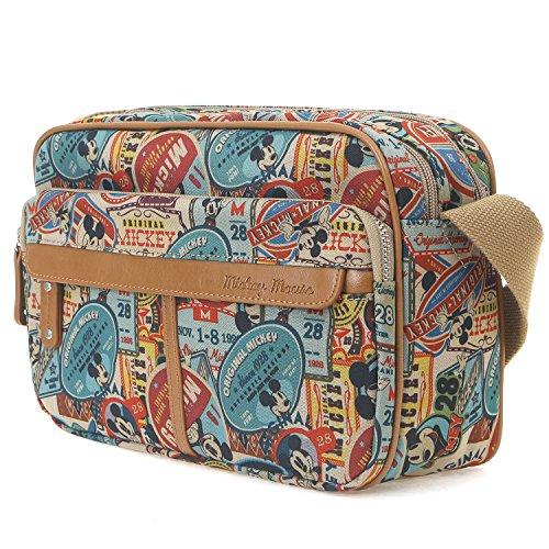 ililily Disney Mickey Mouse Pattern Vintage Casual Square Shoulder Bag Brown