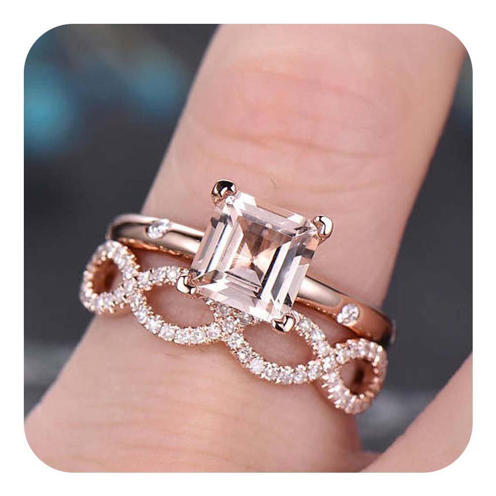 Morganite Infinity Promise Ring 14k Rose Gold Over Sterling Silver 925