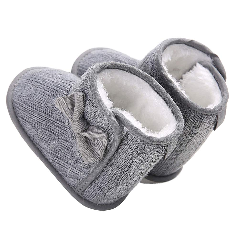 Wollanlily Baby Winter Snow Boots Premium Knit Anti-Slip Soft Sole Girls Boys Infant Toddler Prewalker Crib Shoes(Large(12-18 Months),Gray) by Wollanlily (Image #5)