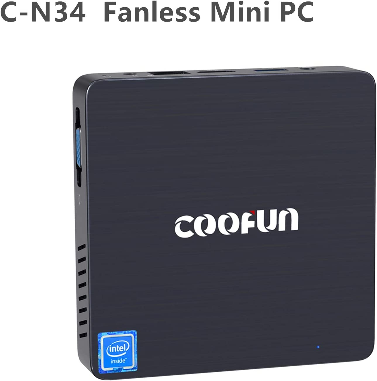 COOFUN Fanless Mini PC 4GB LPDDR4/ 64GB eMMC Windows 10 Quad Core Intel Celeron N3450 Processor Desktop Computer HDMI/VGA Port Support 2242 SSD,BT 4.2,3X USB 3.0,Auto Power on,Linux