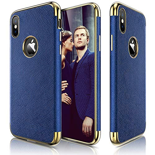 LOHASIC Premium Leather Case for iPhone Xs Max, Slim Luxury Flexible Anti-Slip Soft Grip Protective Cover Cases Compatible with Apple iPhone Xs Max (2018) 6.5 inch - Ink Blue ()