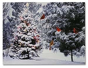 Christmas tree cardinal birds led canvas for Christmas wall art amazon