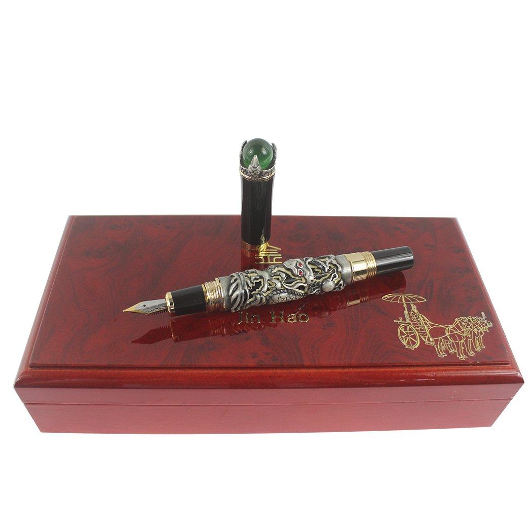 Pluma estilográfica Lujo chino de oro ming dinastía estilo emperador Jugar al dragón jade bola https://amzn.to/2DL5MRR
