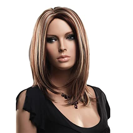 troadzwig Fashion larga recta pelucas de cabello con mechas Natural Parte media para mujer Kanekalon sintético