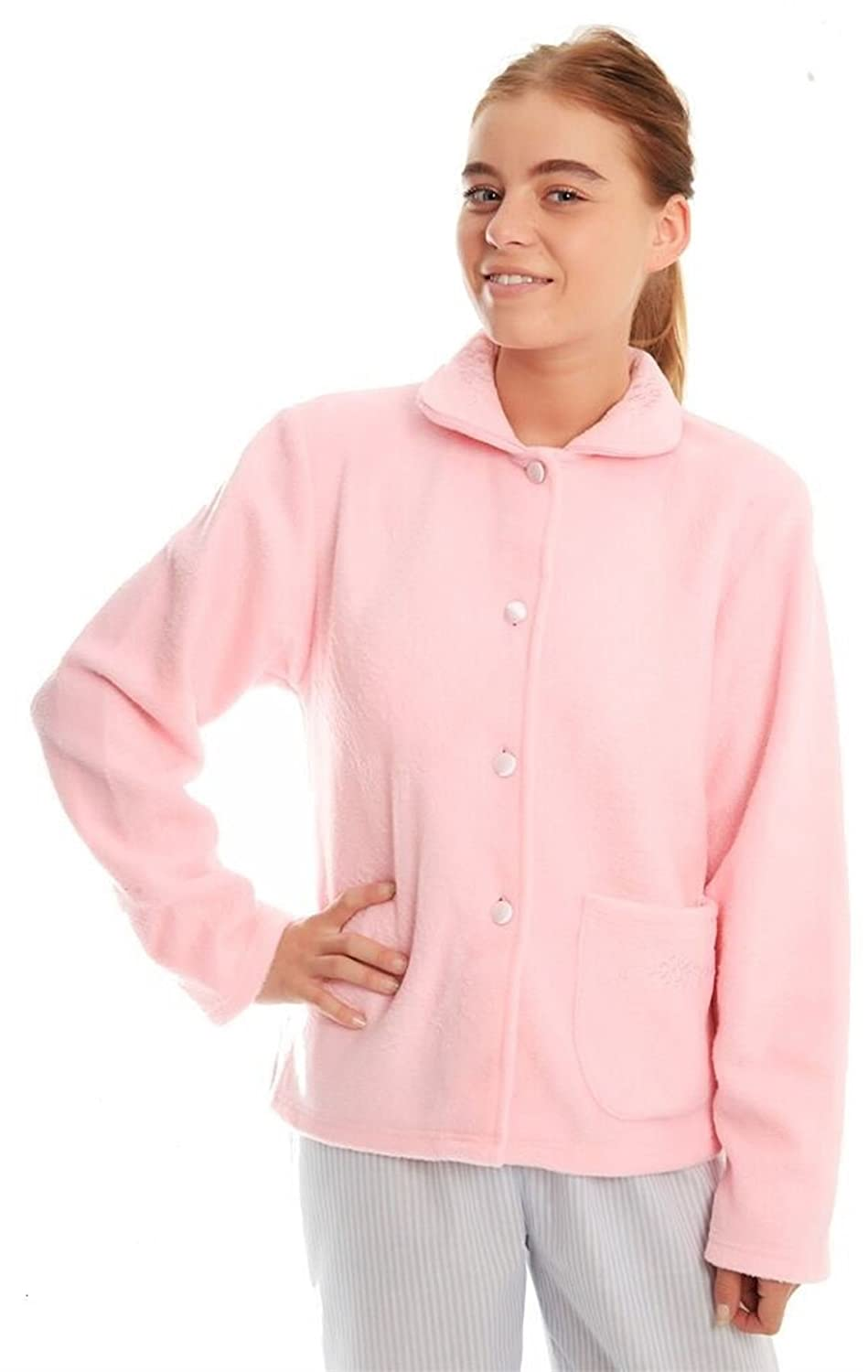 Ladies Soft Fleece Warm Traditional Button Bed Jacket Nightwear Gown