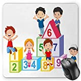 BGLKCS Educational Mouse Pad by, Happy Kids Boys and Girls with Number Blocks Triangle Rectangle and Square, Standard Size Rectangle Non-Slip Rubber Mousepad, Multicolor