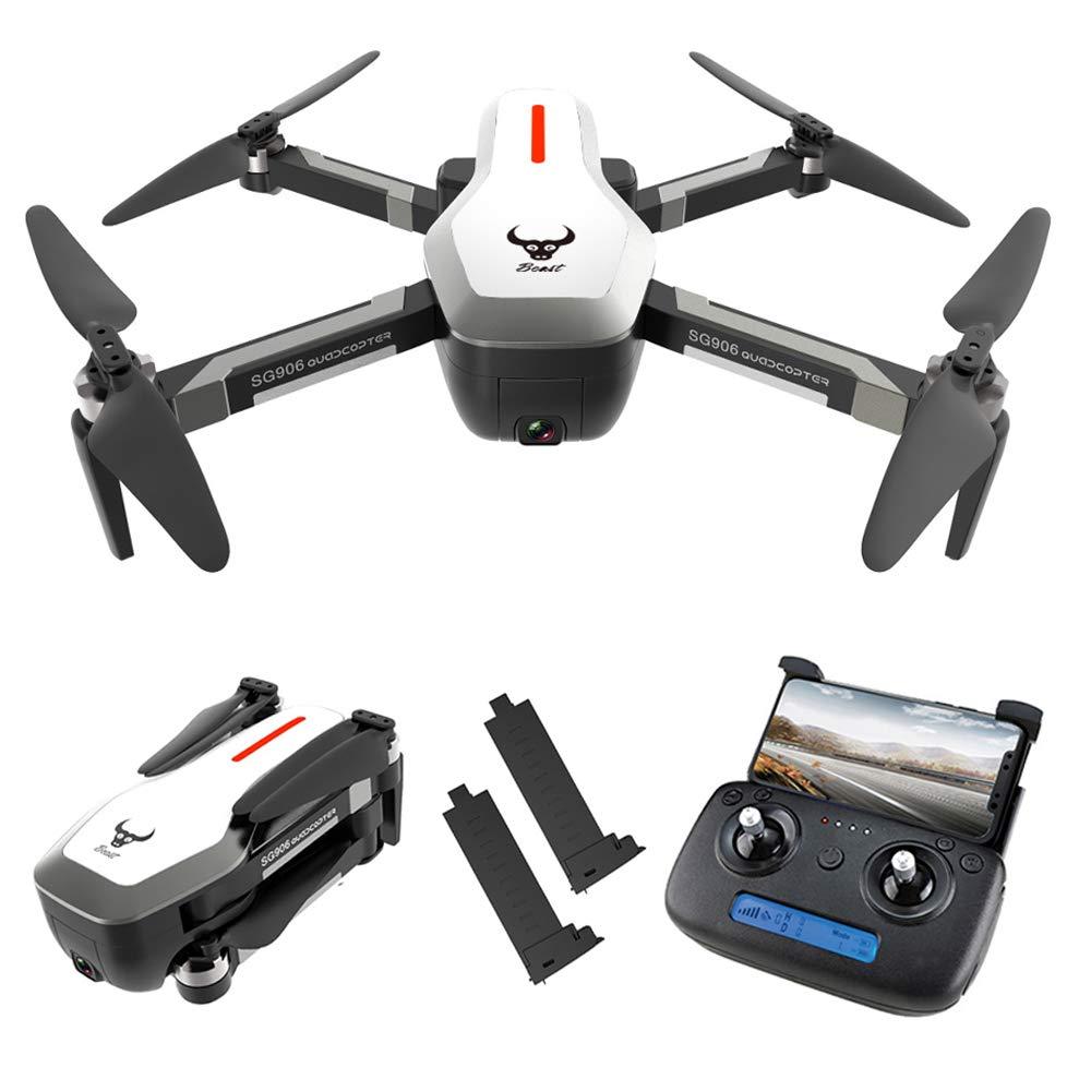 Goolsky Drohne SG906 GPS Brushless 4K mit Kamera 5G WiFi FPV Faltbarer optischer Fluss Positionierungshöhe Halten RC Quadrocopter mit 1 Batterien,SchwarzHandtasche Weiß 2 Batterie