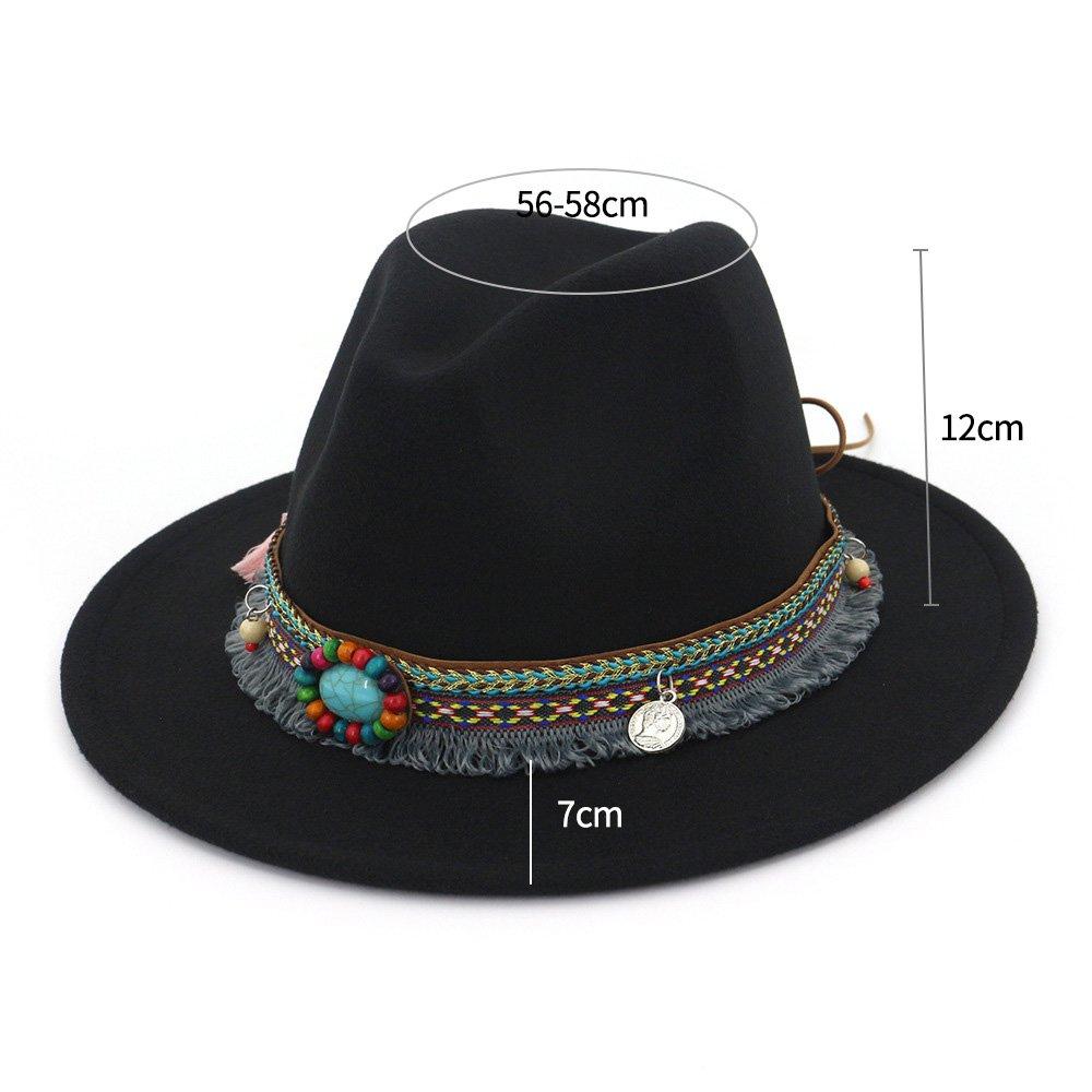 Sfit Damen Jazz Hut M/ütze Vintage Sonnenhut Damenhut mit breiter Krempe Bohemian Stil Trilby Hut Filzhut