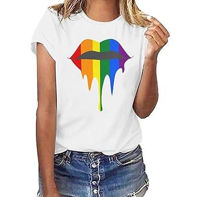 COOlCCI〓Graphic Tee Shirt for Women Teen Girls Short Sleeve Lips Print Graphic Tee Shirt Top Juniors Tees Army Green: Clothing