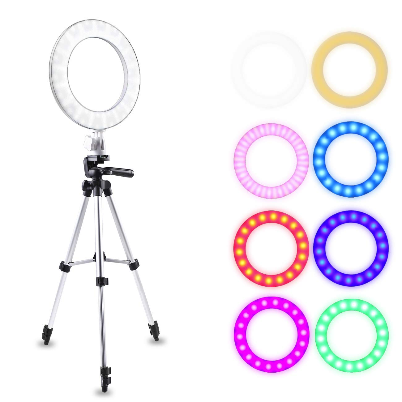 LED Ring Light, Atuten 10'' Dimmable Selfie Ring Light with Stretchable Tripod Stand for Smartphone Take Photos, Live Stream, Makeup, YouTube Video, Photography, 16W, 3200K-7000K(White)