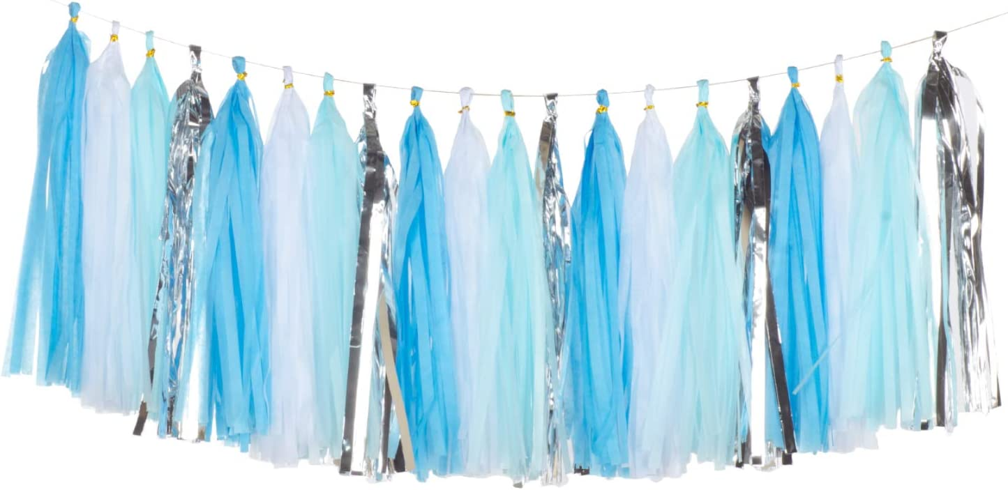 ZOOYOO 20PCS Shiny Tassel Garland Tissue Paper Tassel Banner,Table Decor,Tassels Party Decor Supplies for Party,DIY Kits - (Light Blue/Sky Blue/Silver/White)