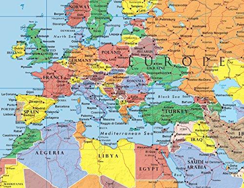 48x78 Huge World Classic Elite Wall Map Laminated