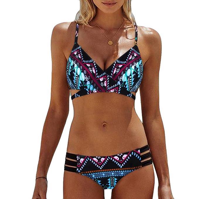 354f5c6fd73b Bikini Bohemio Estampado Dividido de Talle Alto con Vendaje Relleno ...
