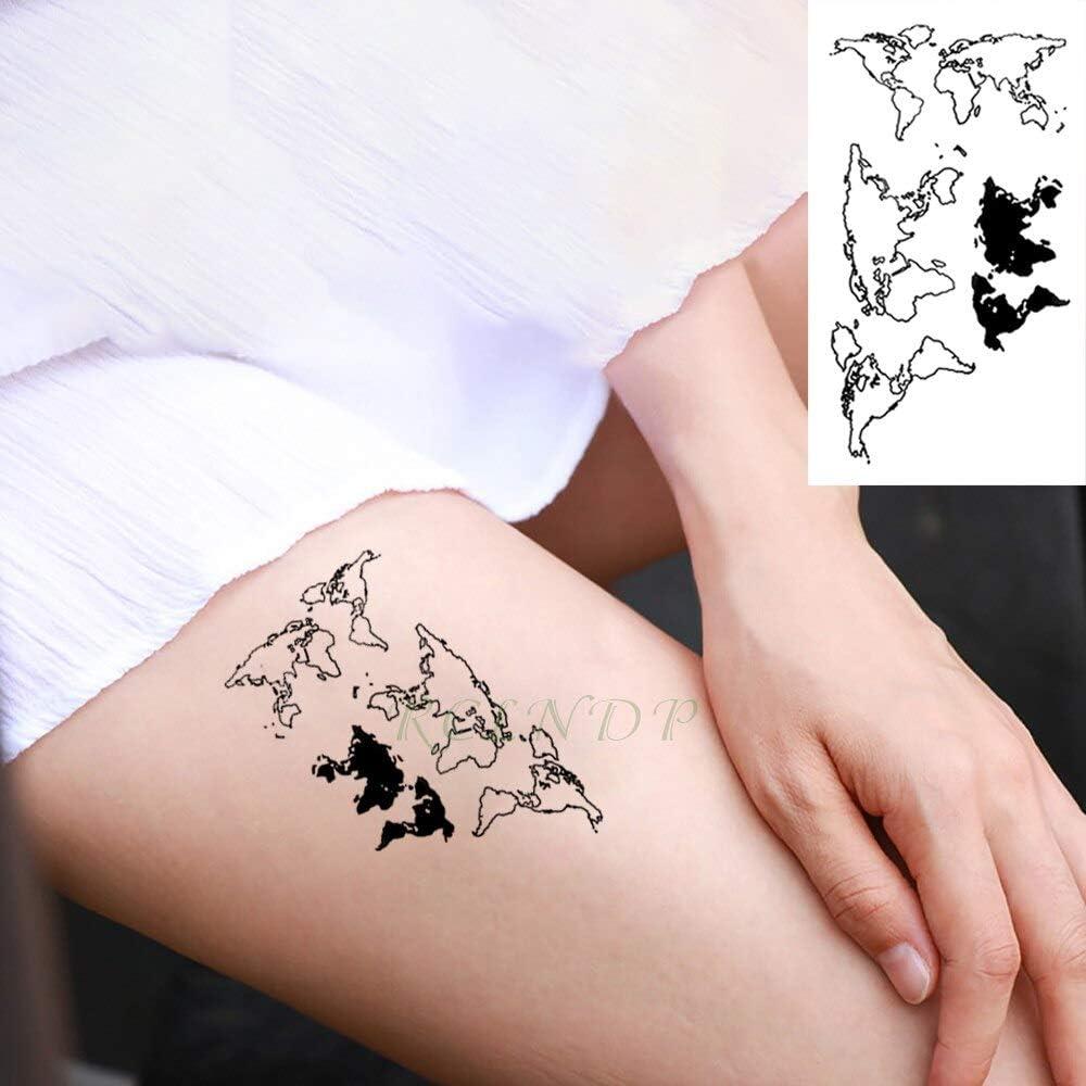 Yyoutop Impermeable e Tattoo Stickers Mapa del Mundo Tatto Flash ...