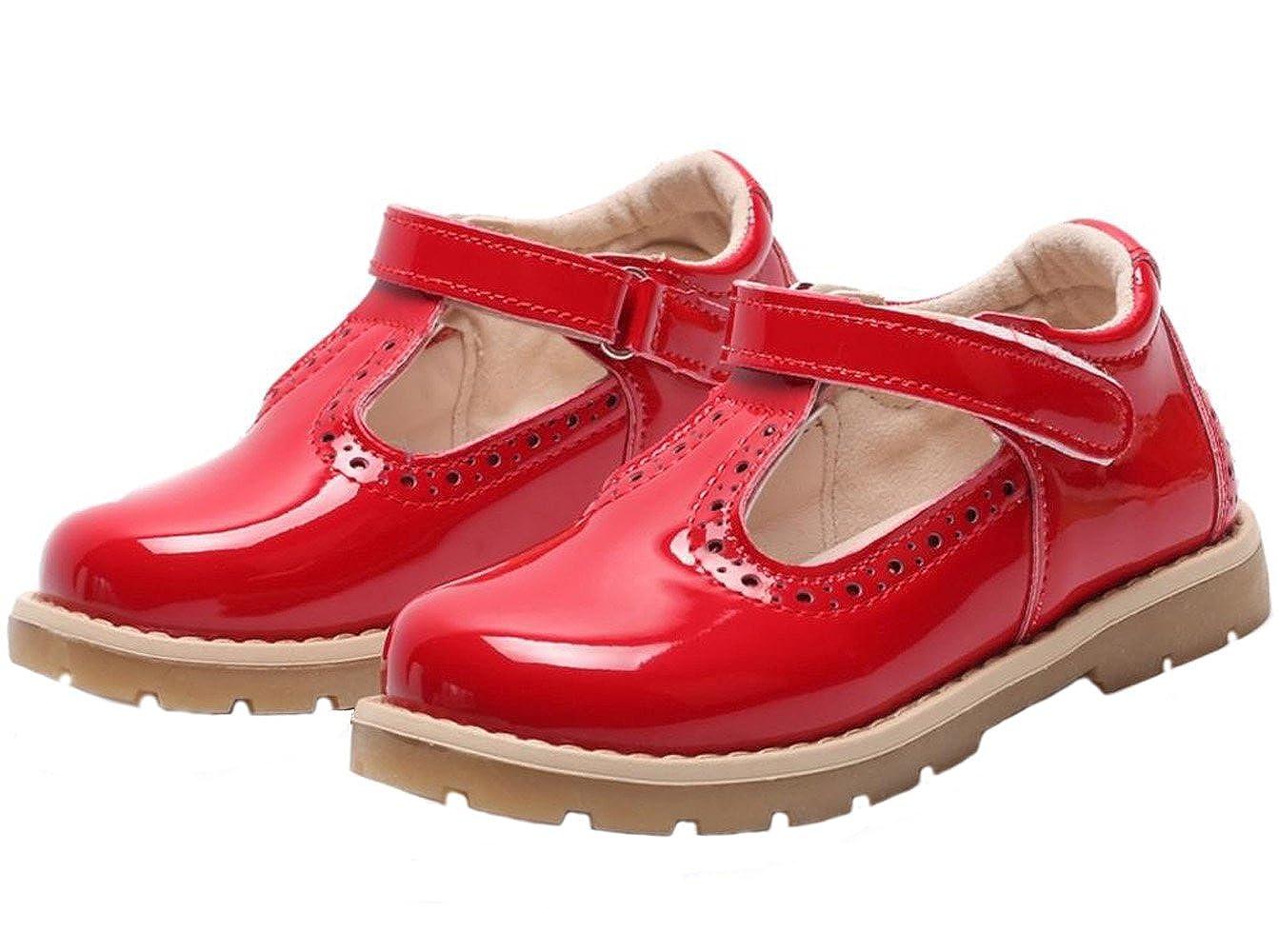 WUIWUIYU Girls' Fashion British Retro T-Strap Princess Oxfords Shoes Mary Jane Flats Toddler Little Kid 250358U