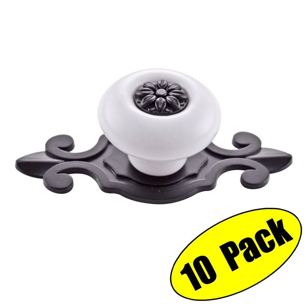 KES Vintage Ceramic Kitchen Bath Cabinet Round Knobs with Black Backplate Drawer Handles Furniture Pulls Hardware WHITE 10 Pack, HCK803-WH-P10