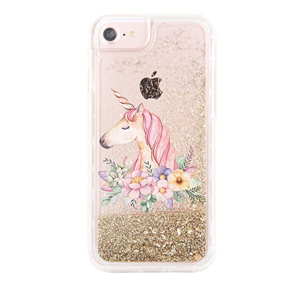 best website 8b690 01637 uCOLOR Gold Glitter Floral Unicorn Case for iPhone 6S/ 6, iPhone 7 Case  iPhone 8 Case Waterfall Clear Protective Case for iPhone 8/7/6S/6(4.7