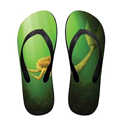 Unisex Mermaid With Fish Tail Swimming In The Deep Sea Flip Flops Funny Thong Sandals Beach Sandals L