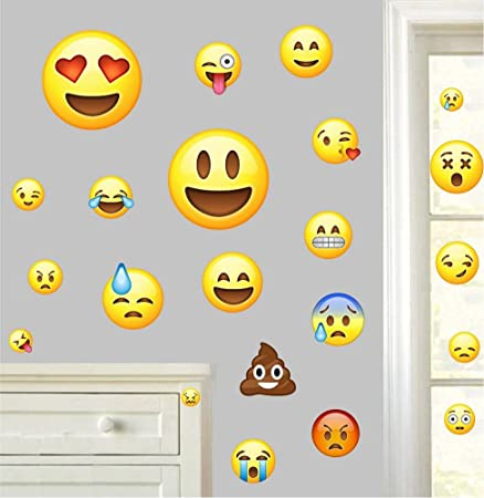 Emojis Pack of 22 - Wall Art Vinyl Printed Stickers Emoticon Funny ...