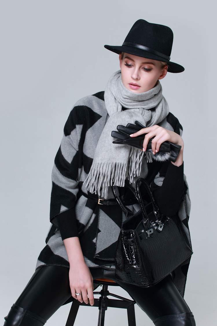 GUQQRZCT 太股スプリットショールクローク女性の秋と冬の綿の肥厚ヨーロッパとアメリカの野生のファッション芸術の新しい黒灰色の柔らかい大きなスカーフ (Color : Black, Size : One size)   B07S2B99LL