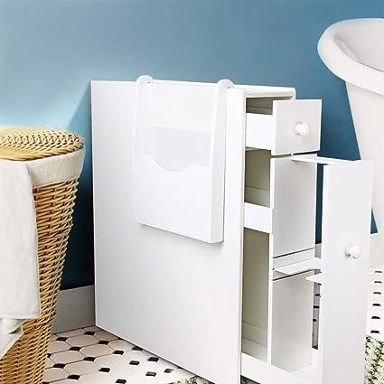 Bathroom Floor Cabinet Storage White Bathroom Standing Cabinet Slim Wood  Tight Space Bathroom Organizer With Slide