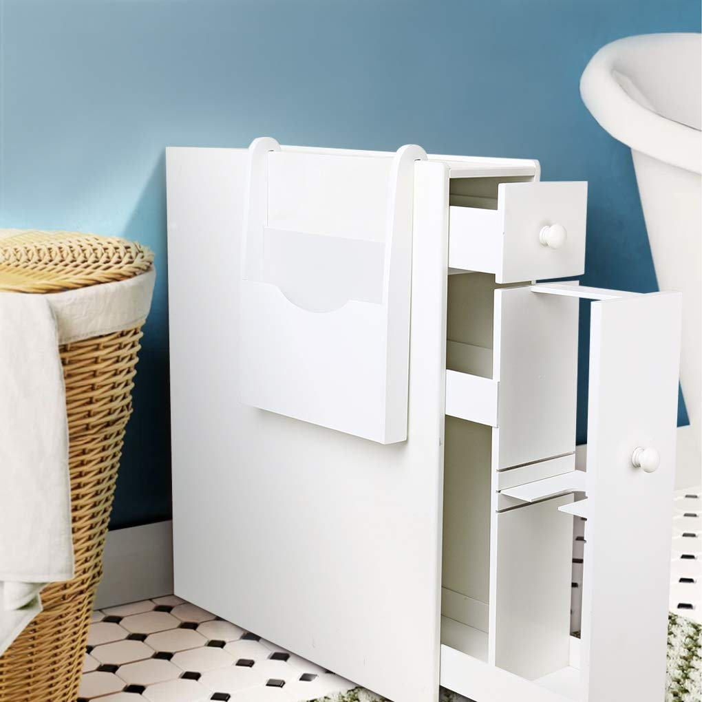 Bathroom Floor Cabinet Storage White Bathroom Standing Cabinet Slim Wood Tight Space Bathroom Organizer with Slide Out Drawer,Magazine Rack