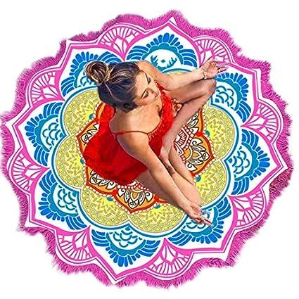 Vandot con Flecos Diseño de Toalla de Playa (Especial Redondo Mandala Playa Manta - Toallas
