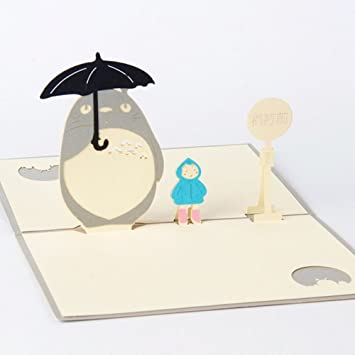 Shoresu Greeting Birthday Cards For All Occasions 3D Pop Up My Neighbour Totoro Anime Chinchilla