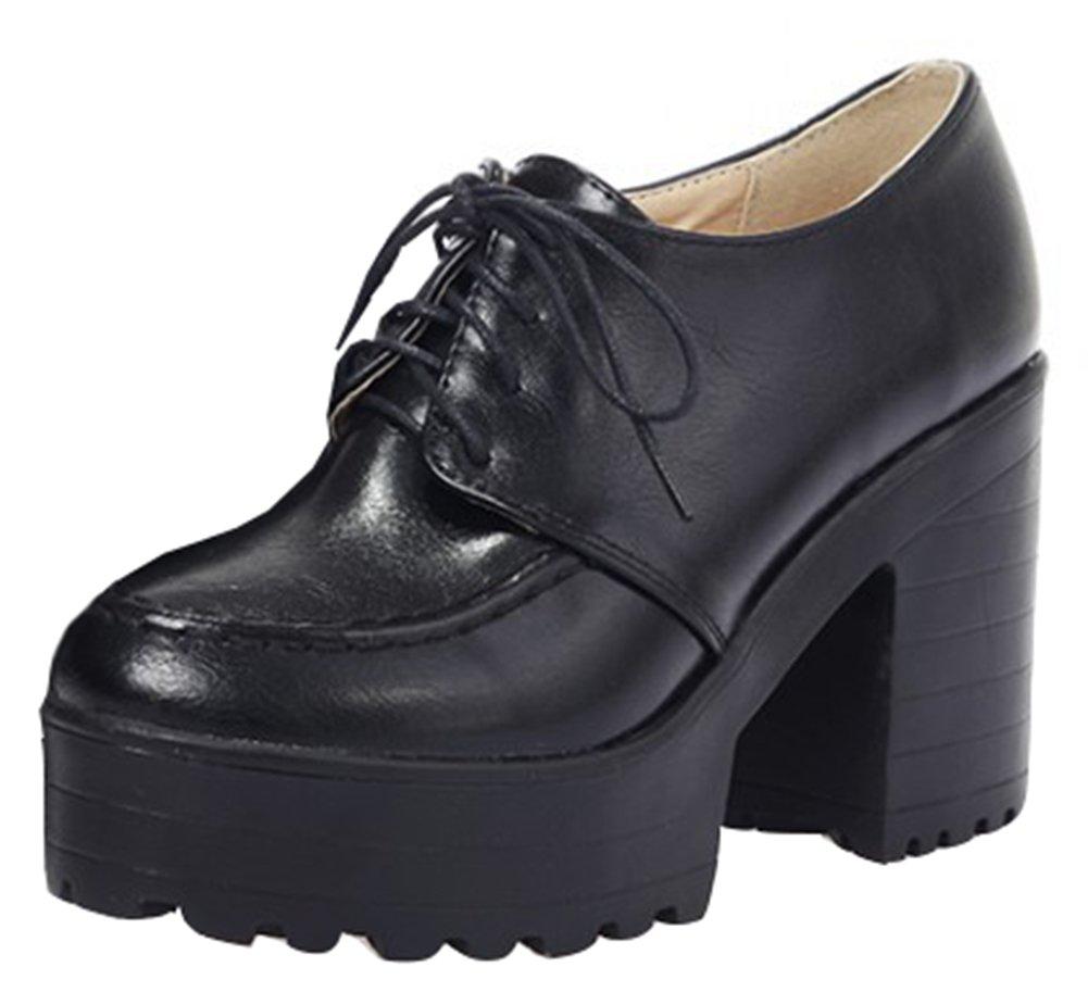 IDIFU Women's Vintage High Chunky Heels Platform Low Top Lace up Oxfords Shoes Black 4 B(M) US