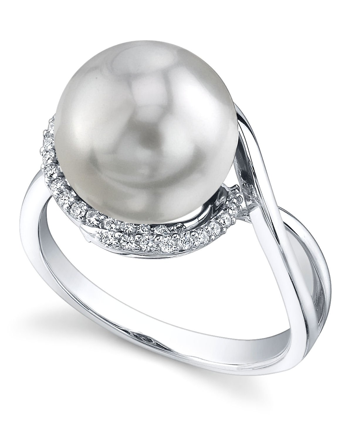 10mm White South Sea Cultured Pearl & Diamond Summer Ring in 14K Gold