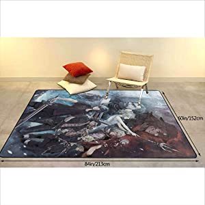 Super Soft Area Rug, 84 Inches X 60 Inches Non-Slip Quick-Drying, F-in-al F_ant-asy 15 Yoga Mat Carpet Living Room Bedroom Stairs Home Decoration