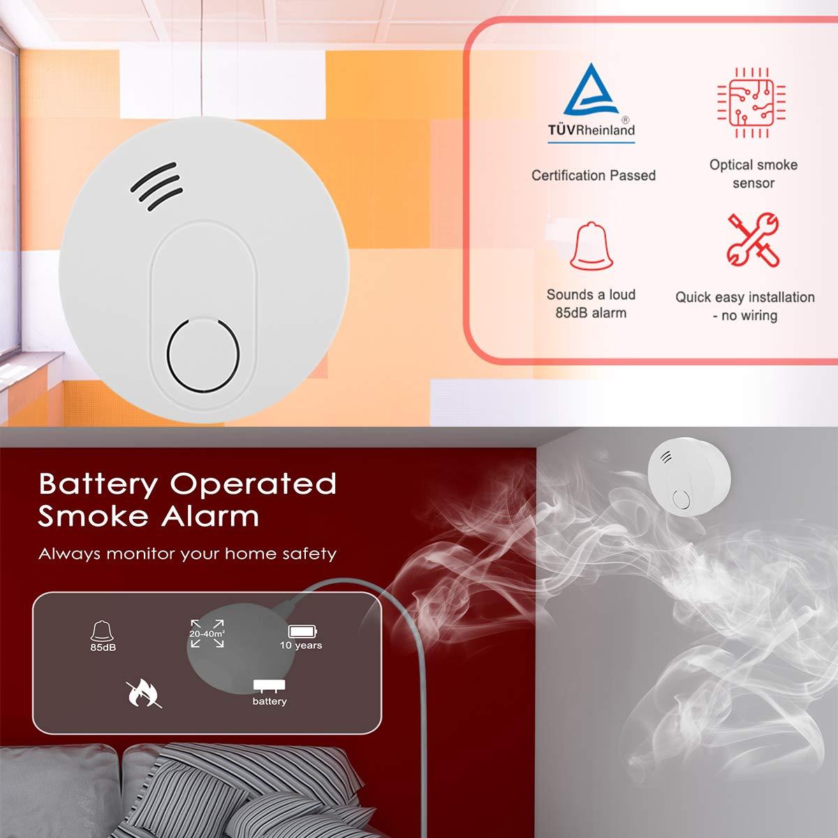 Alarma de Humo Sendowtek Detector de Humo Independiente Voz de 85dB para Escuela//Dormitorio//Cocina//Oficina 4 Vida /útil de La Bater/ía de 10 A/ños Certificaci/ón TUV EN14604