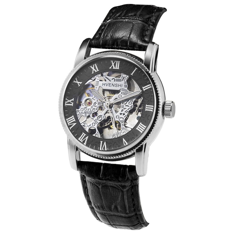 hvenshi ysw012ブラックホワイトダイヤルスケルトン自動機械ブラックレザーメンズ腕時計 B06W5JXRVG