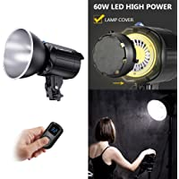 LED Continuous Video Light Kit, Tolifo 60W CRI96+ Bowens Mount Daylight-Balanced Studio Lamp with LCD Display Remote…