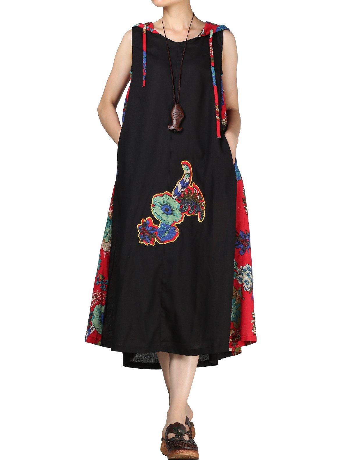 Mordenmiss Women's Summer Sleeveless Printing Hoodie Dress L Black