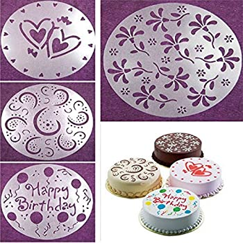 Affe 4PCS/set Fondant Cake Stencil Carved Printing Patterns Mold Happy Birthday Cake Mold Spray Cake